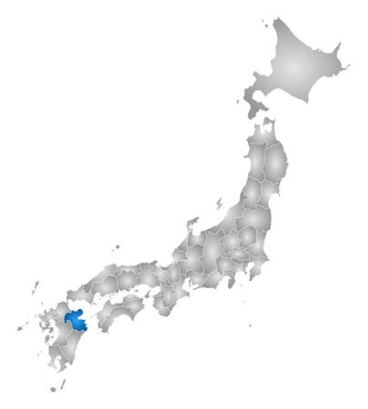 Map of Japan with the provinces, filled with a radial gradient, Oita is highlighted.