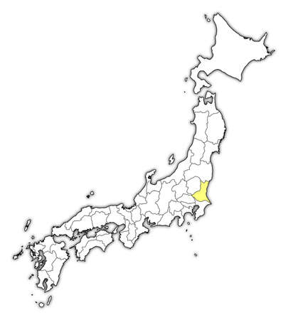 Map of Japan with the provinces, Ibaraki is highlighted in yellow. Illustration