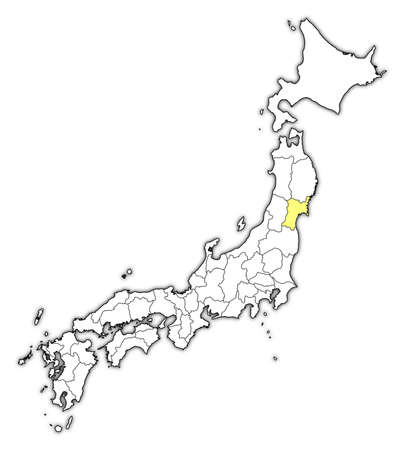 Map of Japan with the provinces, Miyagi is highlighted in yellow. Illustration