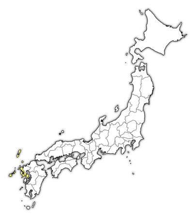 Map of Japan with the provinces, Nagasaki is highlighted in yellow. Illustration