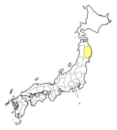 Map of Japan with the provinces, Iwate is highlighted in yellow.