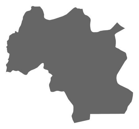 Map of Mamou, a province of Guinea. Ilustração