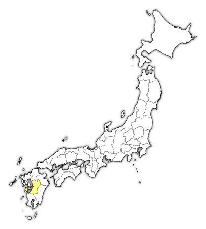 Map of Japan with the provinces, Kumamoto is highlighted in yellow.