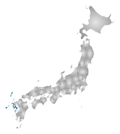 nagasaki: Map of Japan with the provinces, filled with a radial gradient, Nagasaki is highlighted.
