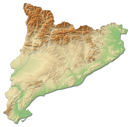 Relief map of Catalonia, a province of Spain, with shaded relief. Stock Photo