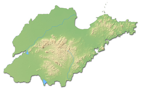 Relief map of Shandong, a province of China, with shaded relief. Stock Photo