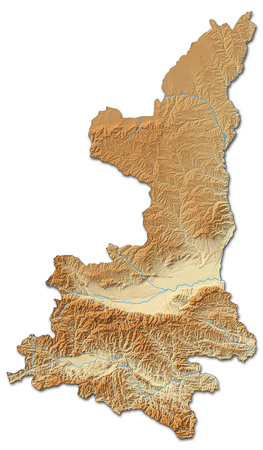 Relief map of Shaanxi, a province of China, with shaded relief.