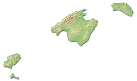 Relief map of Balearic Islands, a province of Spain, with shaded relief.