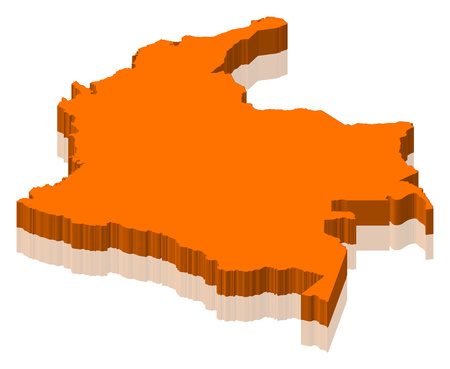 frontier: Map of Colombia as an orange piece.
