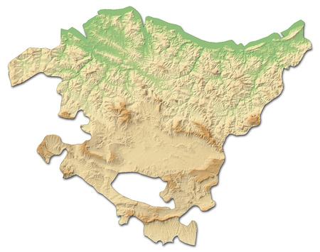 Relief kaart van Baskenland, een provincie van Spanje, met schaduwrijke opluchting.
