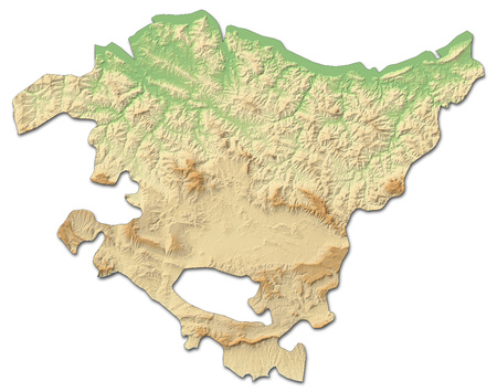 Relief map of Basque Country, a province of Spain, with shaded relief.