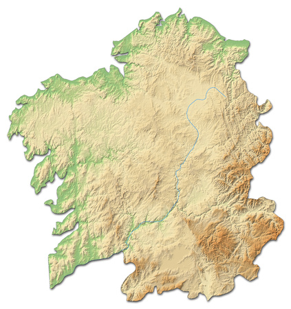 Relief map of Galicia, a province of Spain, with shaded relief. Stock Photo