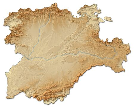 Relief map of Castile and Le?n, a province of Spain, with shaded relief. Stock Photo