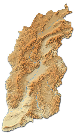 Relief map of Shanxi, a province of China, with shaded relief.