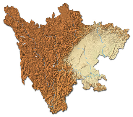 prc: Relief map of Sichuan, a province of China, with shaded relief.