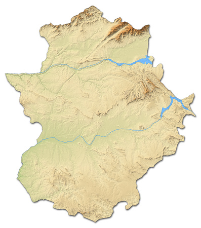 Relief map of Extremadura, a province of Spain, with shaded relief.