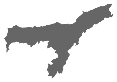 Map of Assam, a province of India.