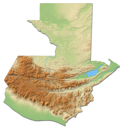 middle america: Relief map of Guatemala with shaded relief.