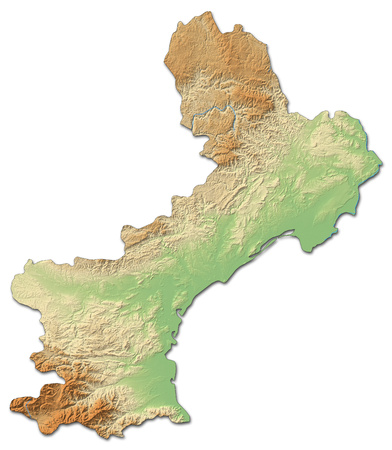 shaded: Relief map of Languedoc-Roussillon, a province of France, with shaded relief.