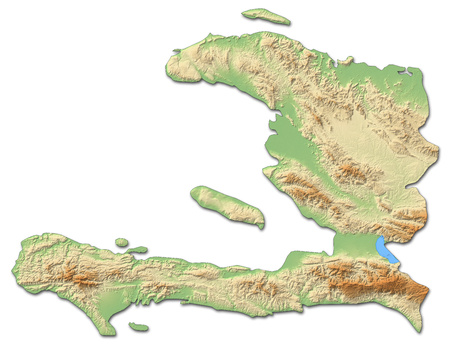 Relief map of Haiti with shaded relief.
