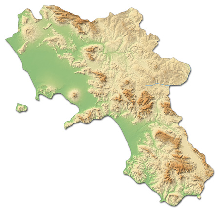 Relief map of Campania, a province of Italy, with shaded relief. Stock Photo