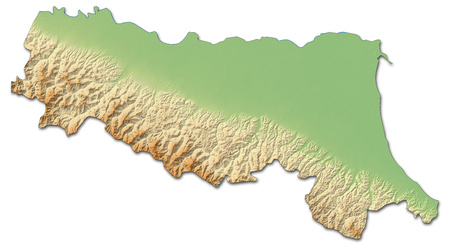 Relief map of Emilia-Romagna, a province of Italy, with shaded relief.