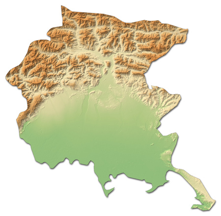 Relief map of Friuli-Venezia Giulia, a province of Italy, with shaded relief.