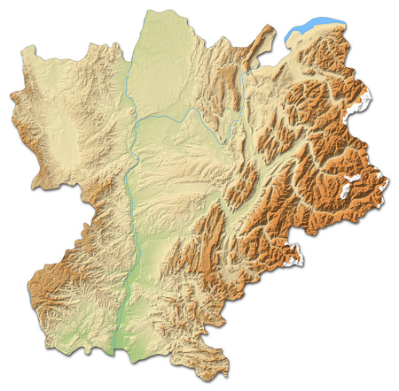 Relief map of Rh?ne-Alpes, a province of France, with shaded relief.