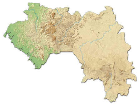 Relief map of Guinea with shaded relief.