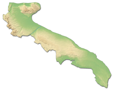 Relief map of Apulia, a province of Italy, with shaded relief.