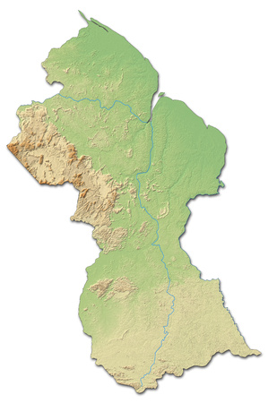 guyana: Relief map of Guyana with shaded relief.