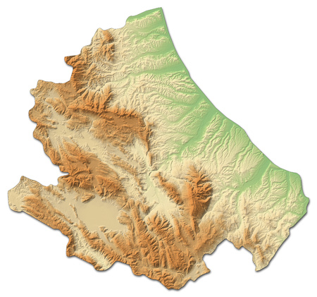 Relief map of Abruzzo, a province of Italy, with shaded relief. Stock Photo