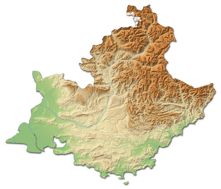 d mark: Relief map of Provence-Alpes-C?te dAzur, a province of France, with shaded relief.