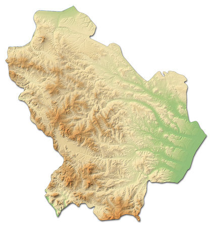 Relief map of Basilicata, a province of Italy, with shaded relief.