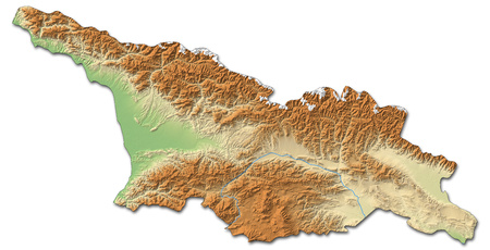 shaded: Relief map of Georgia with shaded relief. Stock Photo