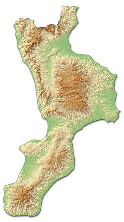 Relief map of Calabria, a province of Italy, with shaded relief.