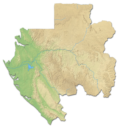 shaded: Relief map of Gabon with shaded relief.