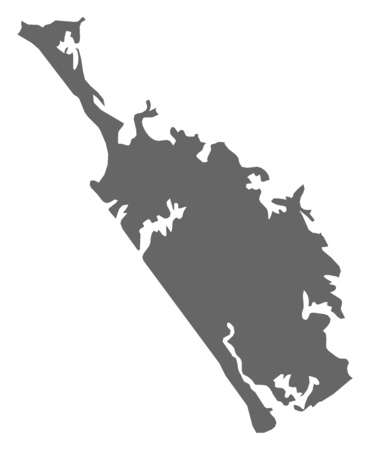 Map of Northland, a province of New Zealand. Illustration