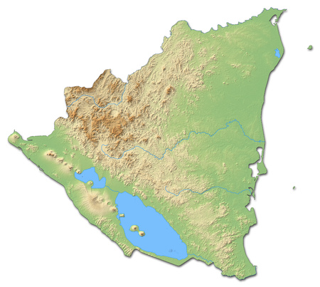 Relief map of Nicaragua with shaded relief.