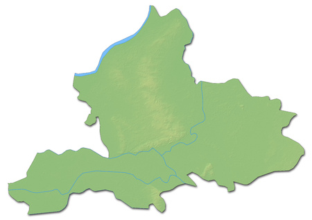 Relief map of Gelderland, a province of Netherlands, with shaded relief. Stock Photo