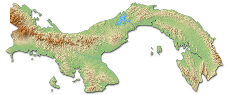 Relief map of Panama with shaded relief.