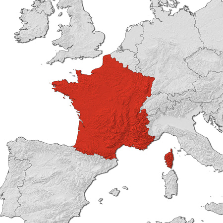 Relief map of France and the nearby countries, France is highlighted in red. Stock Photo