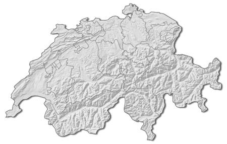 schweiz: Relief map of Swizerland with the provinces.