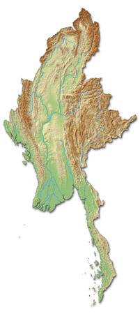 shaded: Relief map of Myanmar with shaded relief. Stock Photo