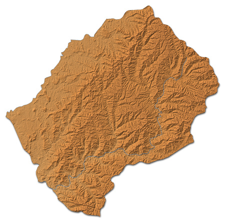 shaded: Relief map of Lesotho with shaded relief. Stock Photo