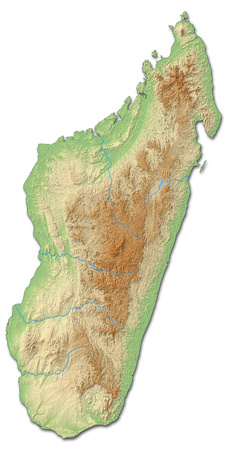 Relief map of Madagascar with shaded relief.