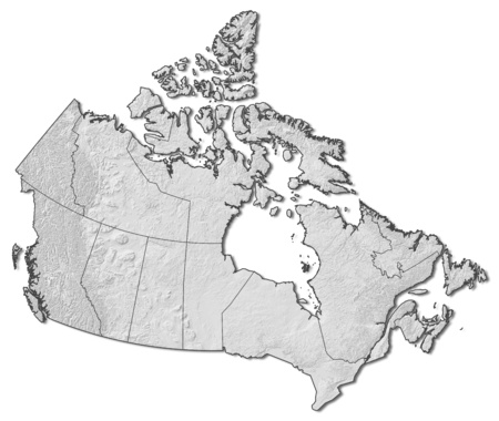 Relief map of Canada with the provinces. Stock Photo
