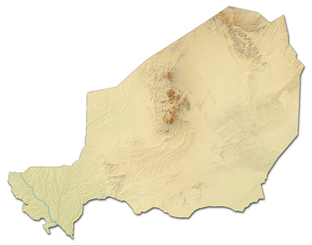 republique: Relief map of Niger with shaded relief.