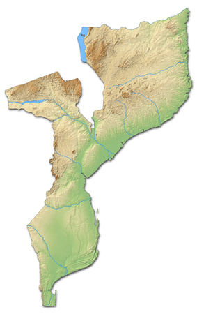 shaded: Relief map of Mozambique with shaded relief.