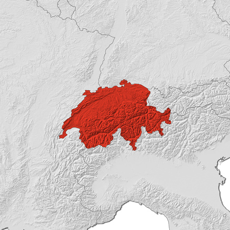 swizerland: Relief map of Swizerland and the nearby countries, Swizerland is highlighted in red.